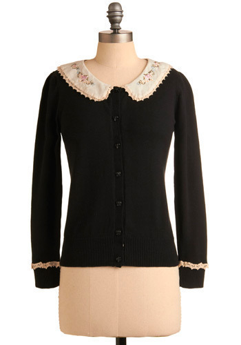 New School Cardigan - Black, Tan / Cream, Multi, Floral, Embroidery, Lace, Casual, 3/4 Sleeve