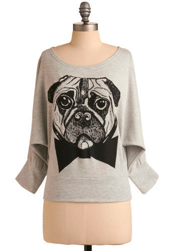 Pugs and Kisses Sweatshirt - Grey, Black, Print with Animals, Casual, Long Sleeve, Fall, Winter, Mid-length, International Designer