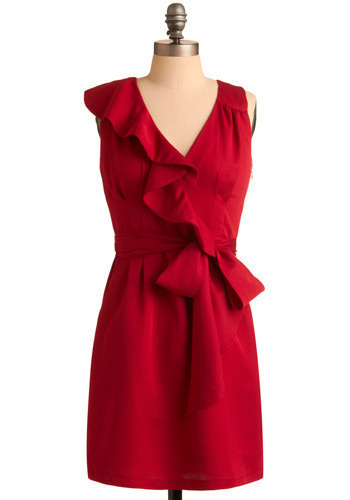 Color of Desire Dress - Red, Solid, Ruffles, Special Occasion, Wedding, Party, Luxe, A-line, Sleeveless, Short