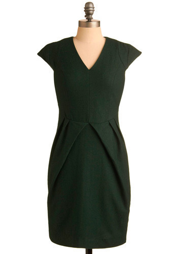 Forever Green Dress - Green, Solid, Pleats, Wedding, Work, Casual, Vintage Inspired, 90s, Sheath / Shift, Cap Sleeves, Mid-length