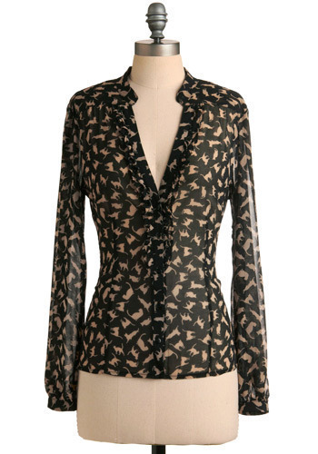 Don't Go Astray Top - Black, Tan / Cream, Print with Animals, Work, Casual, Long Sleeve, Mid-length