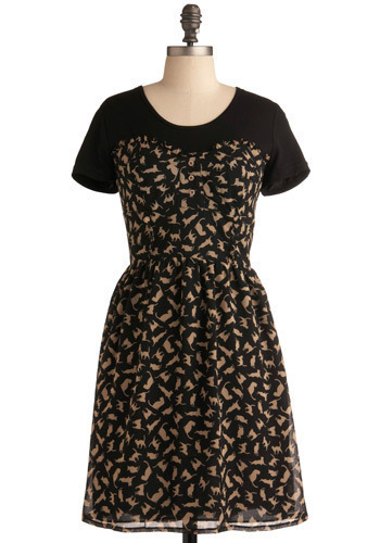 Don't Go Astray Dress - Cream, Black, Print with Animals, Casual, A-line, Short Sleeves, Mid-length
