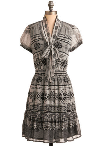 Peruvian Beauty Dress - Black, Grey, Print, Casual, A-line, Short Sleeves, Mid-length