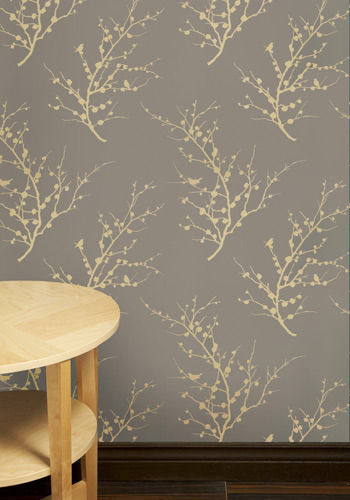 Sprig to Mind Temporary Wallpaper in Grey - Grey, Tan / Cream, Floral, Print with Animals, Novelty Print, Dorm Decor
