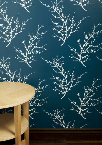 Sprig To Mind Temporary Wallpaper In Teal Mod Retro