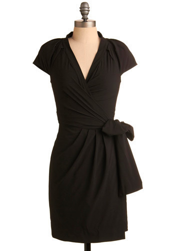 Purely Marvelous Dress - Black, Solid, Bows, Pleats, Special Occasion, Wedding, Party, Work, Casual, Wrap, Cap Sleeves, Mid-length