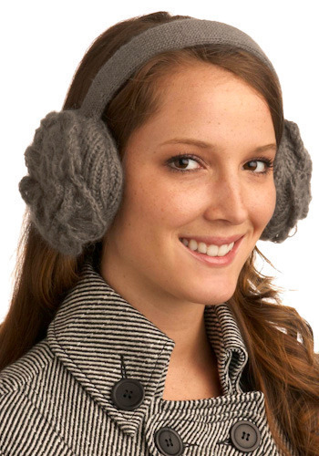 Winter Bloom Earmuffs in Grey by Wooden Ships