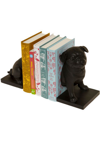Canine Companion Bookends in Pug - Black, Dorm Decor