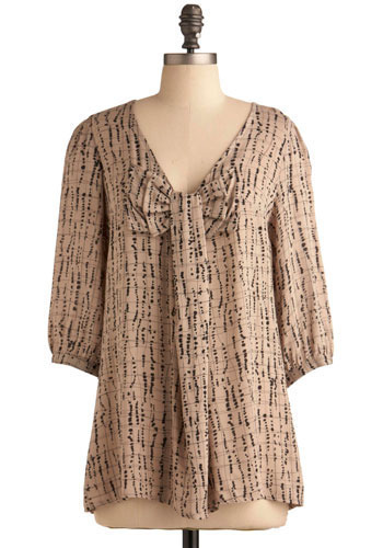 I've Got an Inkling Tunic - Cream, Black, Bows, Casual, Urban, 3/4 Sleeve, Long