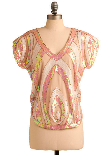 Far as the Eye Can Sequin Top - Pink, Sequins, Party, Statement, Cap Sleeves, Mid-length
