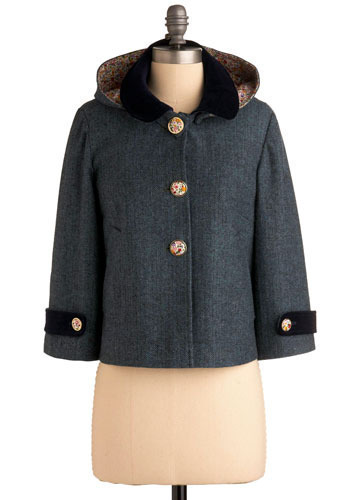 Window to the World Jacket - Blue, Black, Herringbone, Buttons, Casual, Long Sleeve, Fall, Winter, Short