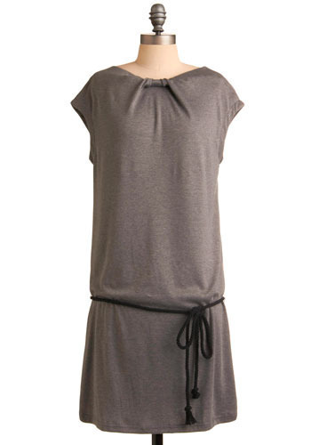 Casual Charm Dress - Grey, Solid, Bows, Casual, Shift, Cap Sleeves, Fall, Winter, Mid-length