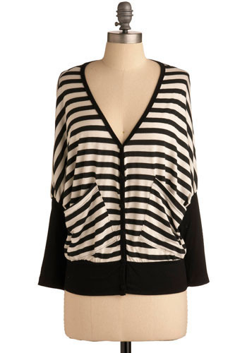 Stripe a Pose Cardigan - Black, White, Solid, Casual, Long Sleeve, Fall, Mid-length