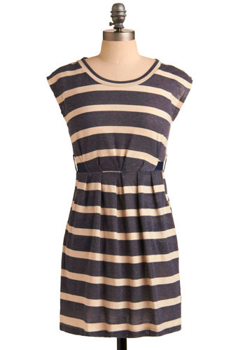 Night Sailing Dress - Blue, Tan / Cream, Stripes, Casual, Shift, Cap Sleeves, Spring, Summer, Short