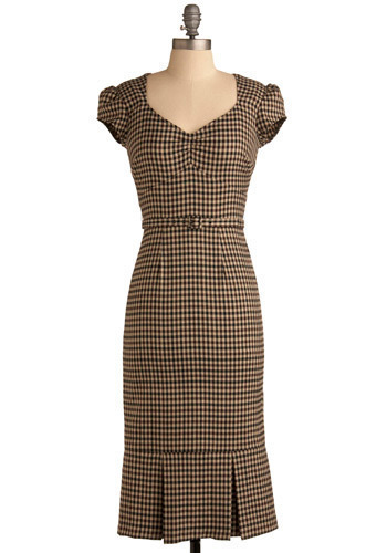 Hold VP:Girl Monday Dress by Stop Staring! - Brown, Cream, Checkered / Gingham, Pleats, Work, Casual, Drop Waist, Sheath / Shift, Cap Sleeves, Long