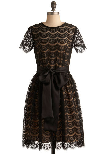 Well-Mannered Minx Dress - Black, Lace, Formal, Wedding, Party, A-line, Short Sleeves, Fall, Winter, Long