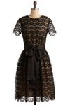 Well-Mannered Minx Dress - Black, Lace, Special Occasion, Wedding, Party, A-line, Short Sleeves, Fall, Winter, Long