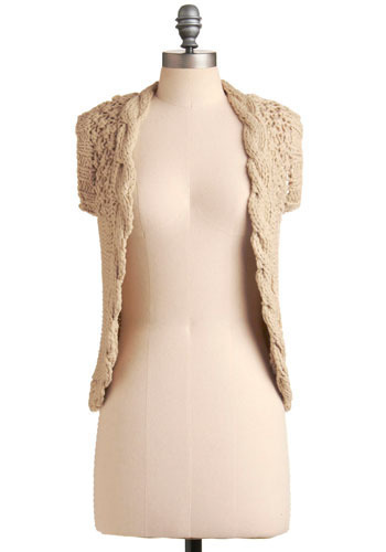 Do Your Very Vest - Cream, Solid, Knitted, Casual, Sleeveless, Short