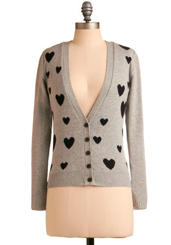 Love is in the Wear Cardigan - Grey, Black, Print, Casual, Long Sleeve, Fall, Winter, Short