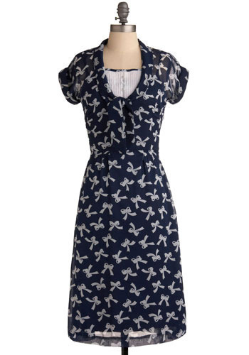Cascading Bows Dress by Bettie Page - Blue, White, Print, Casual, A-line, Short Sleeves, Long