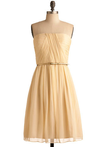 Time of My Life Dress - Yellow, Solid, Party, Casual, A-line, Strapless, Long