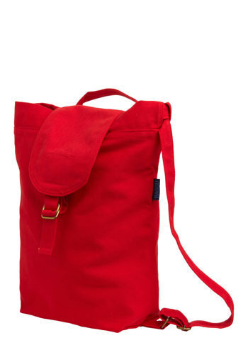 Canvassing Backpack in Neighborhood - Red, Solid, Casual, Cotton