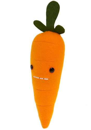 Food with Faces in Carrot - Orange, Green, Dorm Decor