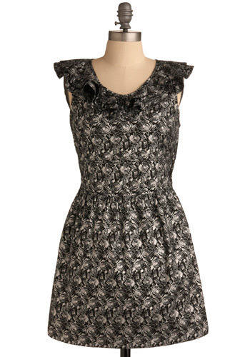 Kendi Everyday Dress by Tulle Clothing - Black, White, Floral, Ruffles, Casual, A-line, Cap Sleeves, Short