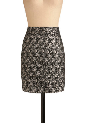 Rose at Dusk Skirt by Tulle Clothing - Black, White, Floral, Casual, Sheath / Shift, Short