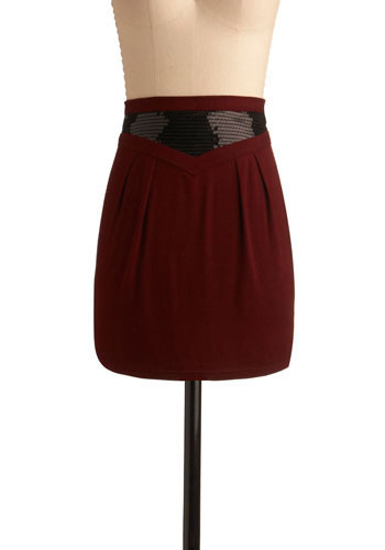Up a Notch Skirt by Tulle Clothing - Red, Solid, Sequins, Party, Shift, Fall, Winter, Short