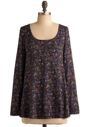 Plenty of Blooms Top - Purple, Multi, Floral, Bows, Cutout, Casual, Long Sleeve, Spring, Summer, Mid-length