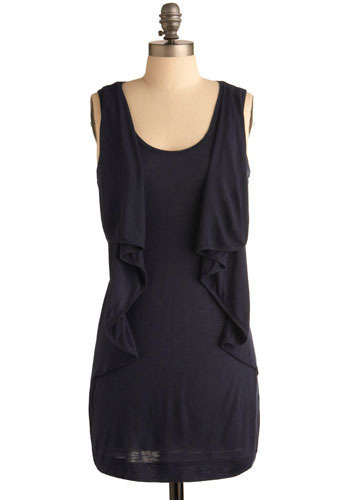 Twitteration Dress - Blue, Solid, Ruffles, Casual, Shift, Sleeveless, Short