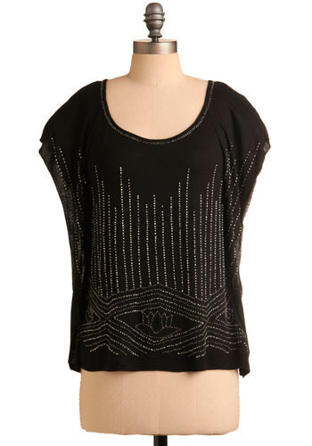 Lotus Gleam On Top - Black, Silver, Beads, Short Sleeves, Mid-length