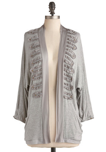 Cityscape Top - Grey, Solid, Ruffles, Casual, Long Sleeve, Fall, Mid-length