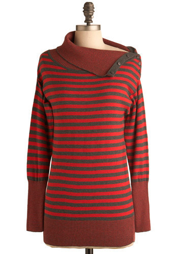 Midnight Premiere Top - Red, Stripes, Buttons, Casual, Long Sleeve, Winter, Cotton, Mid-length