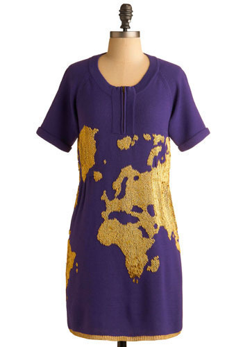 Purple Around the World Dress - Purple, Gold, Print, Beads, Casual, Shift, Short Sleeves, Short