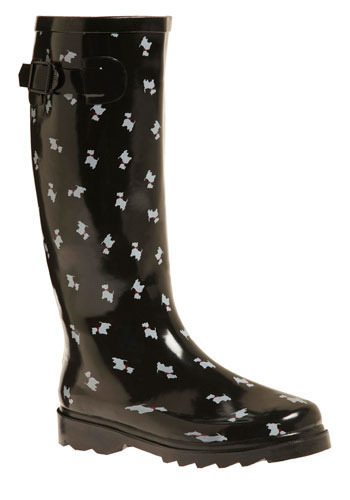 Terrier Firma Rain Boots - Black, White, Print with Animals, Novelty Print, Buckles, Casual, Spring, Fall, Winter