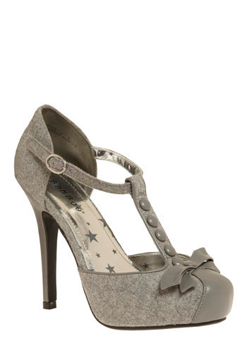 Buttons and Bows Heel in Grey