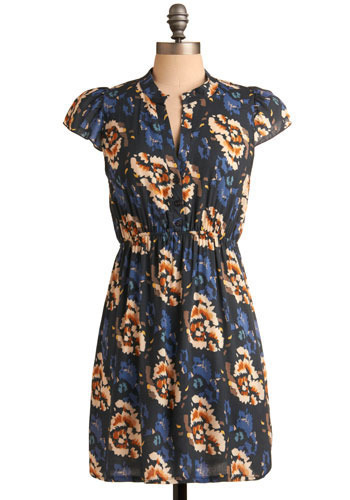 Watercolor Wash Dress - Blue, Orange, Yellow, Brown, Tan / Cream, Floral, Casual, A-line, Cap Sleeves, Spring, Summer, Short