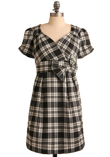 On the Carousel Dress in Black - Plaid, Bows, Pleats, Party, Work, Casual, A-line, Short Sleeves, Black, White, Mid-length
