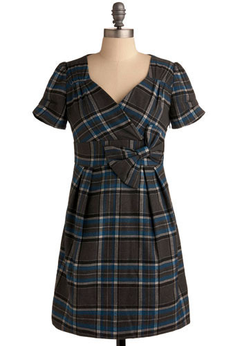 On the Carousel Dress in Grey - Grey, Blue, Black, White, Plaid, Bows, Pleats, Work, Casual, A-line, Empire, Short Sleeves, Mid-length