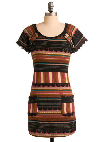 Foxy Phoenix Dress - Brown, Black, Multi, Stripes, Lace, Casual, Shift, Short Sleeves, Short