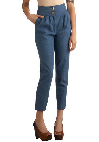 Deservedly Denim Pants - Blue, Solid, Buttons, Casual, Long