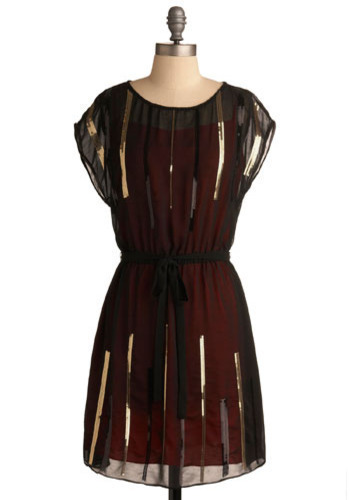 Dream a Little Gleam Dress - Red, Black, Gold, Sequins, Wedding, Party, A-line, Short Sleeves, Short