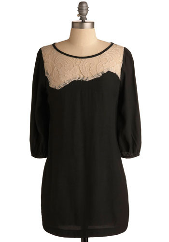 Quoth the Raven Dress - Black, Tan / Cream, Lace, Party, Casual, Mini, 3/4 Sleeve, Short