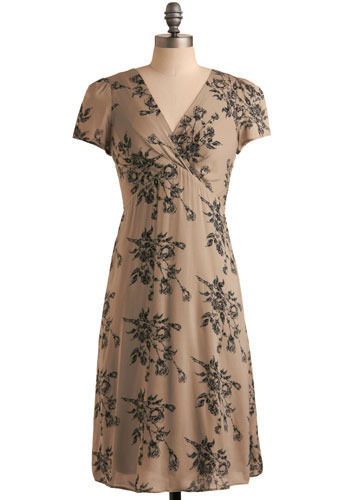 Sketching Memories Dress - Tan, Black, Floral, Casual, A-line, Empire, Short Sleeves, Spring, Summer, Long, Vintage Inspired, 20s, 30s, 40s