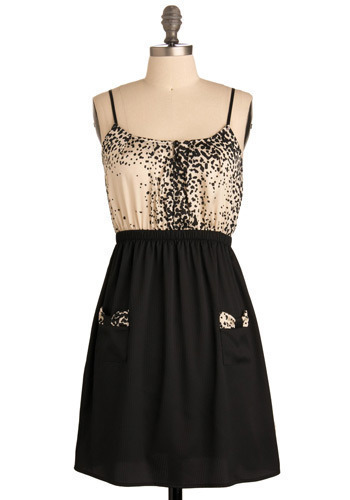 Dappled and Darling Dress - Black, Tan / Cream, Casual, A-line, Spaghetti Straps, Short