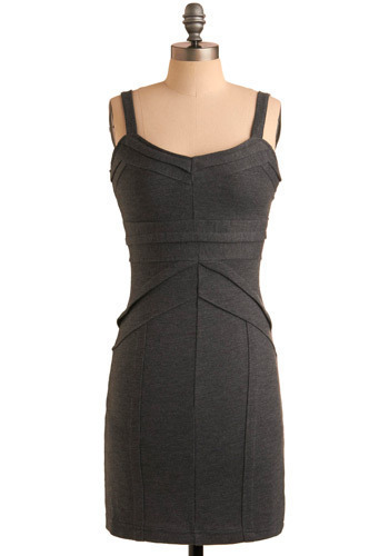 In Good Form Dress - Grey, Solid, Party, Casual, Shift, Spaghetti Straps, Mid-length