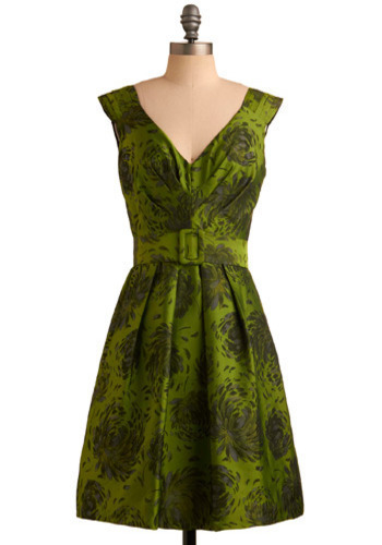 Belle of the Charity Ball Dress - Green, Floral, Formal, Wedding, Party, A-line, Sleeveless, Tank top (2 thick straps), Mid-length