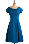On the Job Dress - Blue, Solid, Polka Dots, Bows, Pleats, Wedding, Work, Casual, Empire, Cap Sleeves, Long